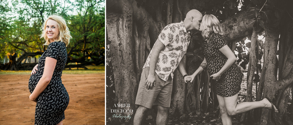 Portrait of Mom and a maternity photo of the couple kissing in front of the tree