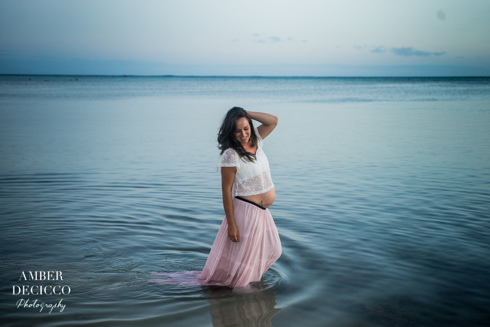 Maternity Photograph of Mother Posing in the Ocean