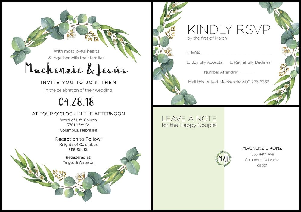 Wedding Invitation Design Suite . Invitation and RSVP postcard (front and back). Mailed with pale green envelopes. 2018
