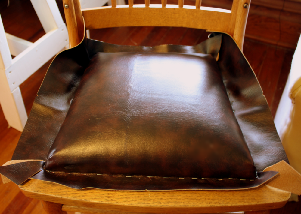 Now That The Inner Workings Of The Seat Are In Place, Cover It With The  Upholstery Material Of Your Choice. I Used A Scrap Piece Of Faux Leather.