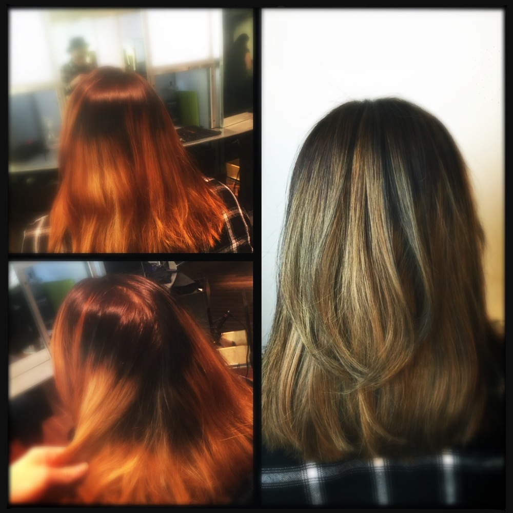 And here is a fun project from yesterday.  The before picture is the shoddy work from another salon...who actually charged for this color.  Don't attempt ombre/balayage/hairpainting unless you know what you're doing.  To fix, I incorporated foiled lowlights that matched her base, in this case Illumina 4/ . I like Illumina for this because her ends were so warm, and Illumina tends to be on the  cool  side.  On the upper half of her head I continued lowlighting, but between foils I feathered up lightener to blend.  I finished by toning everything with Illumina 8/69 and 7/...equal parts, with pastel developer.