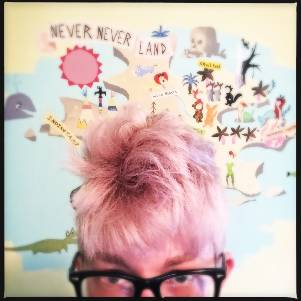 My Peter Pan mural is ALMOST done.  I just love how this picture makes my hair look pink...but it was just the lighting unfortunately. :/