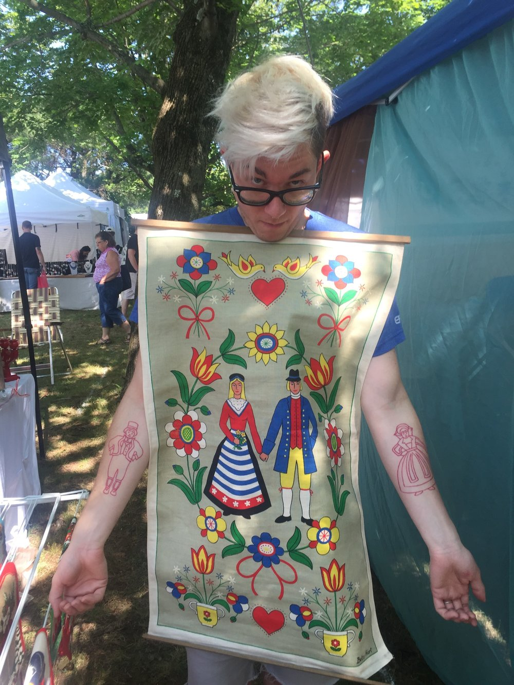 We look forward to Scandinavia Fest every summer.  I thought this tapestry resembled my tattoos!