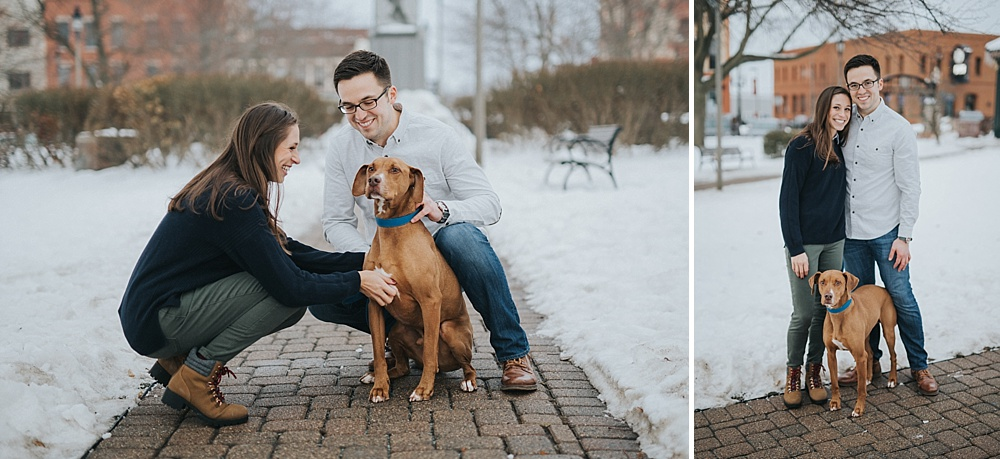 Woodstock Engagement Session - Winter Engagement Session - Liller Photo - Milwaukee Wedding Photographers - With Dog