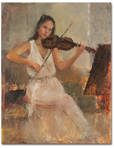 Playing Violin,22 x 28 / Oil on canvas,  AVAILABLE