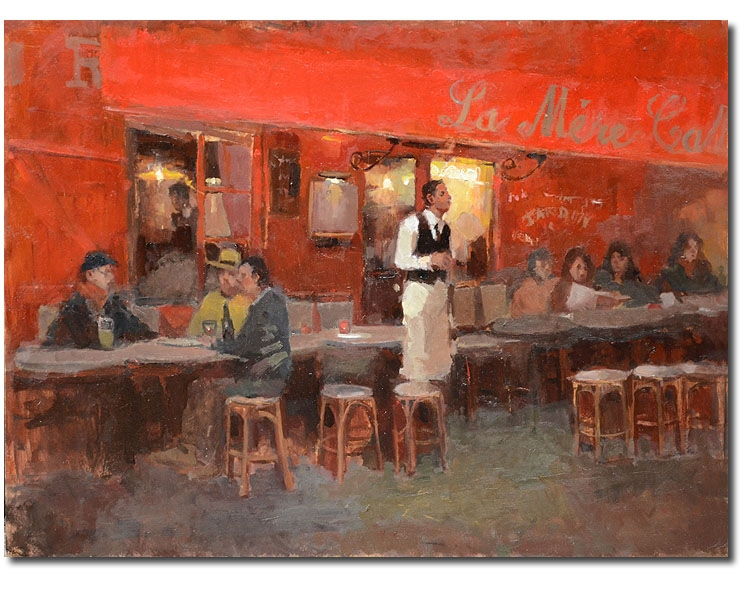 Red Café, 24 x 18 / Oil on canvas,  Sold