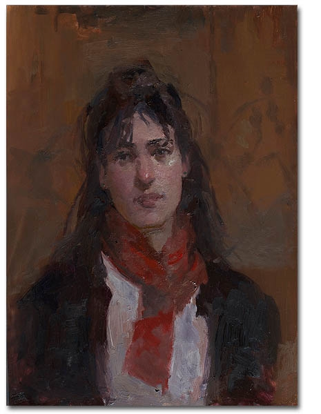 Red Scarf, 12 x 16 / Oil on canvas,  AVAILABLE