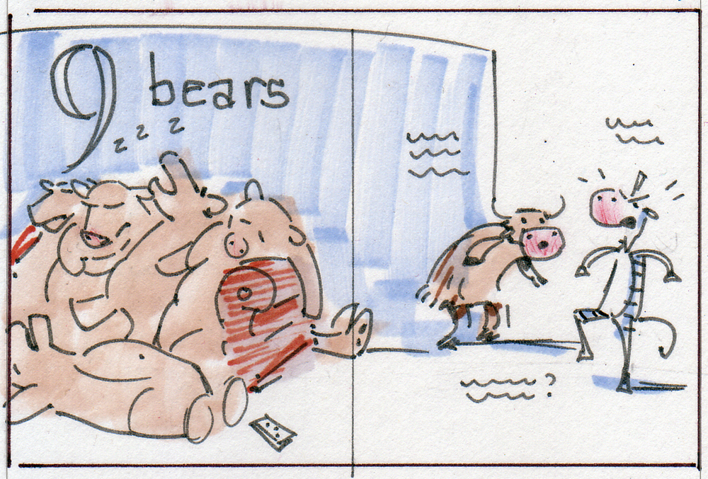 Thumbnail sketch for 9 Bears, from Musk Ox Counts, by Erin Cabatingan. A Musk Ox guides a zebra through the story, which is a spoof on counting books.
