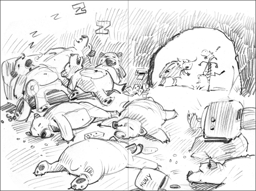 Final sketch for 9 Bears. I changed it to a cave scene. I try to come up with a composition that helps move the story along. The two bears that are nose-to-nose on the ground make one shape that points diagonally toward the focus of the action, the angry zebra.