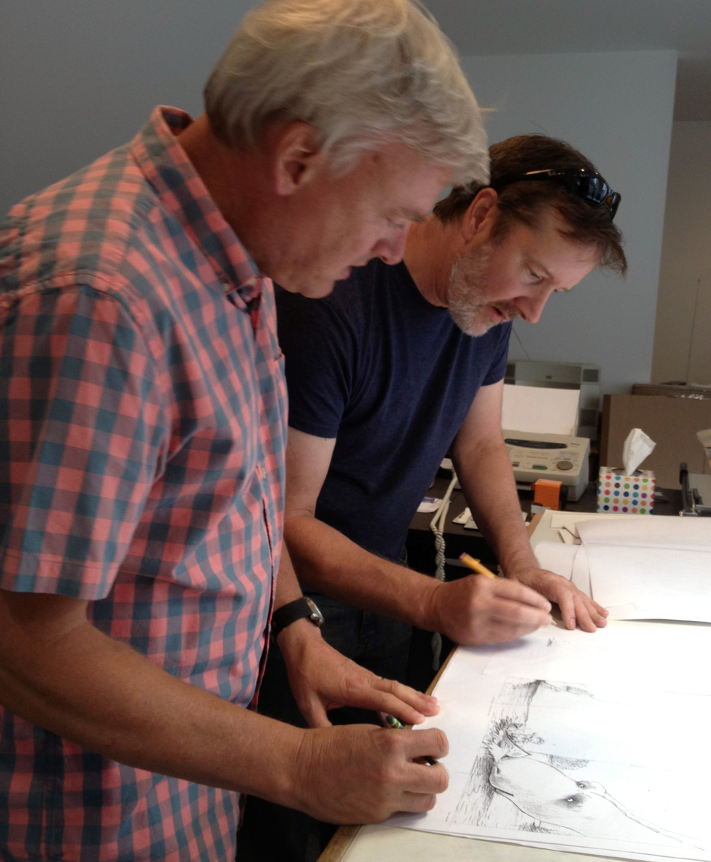 Visiting the author/illustrator Chris Van Dusen at his studio in Maine, 2014.