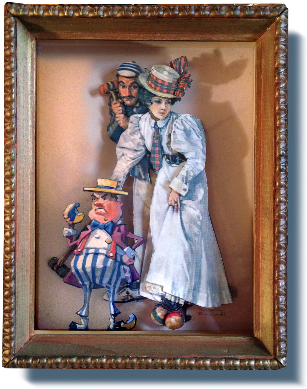 "The Croquet Imp  6"" wide. Includes 8"" wide shadowbox frame. Oil on cardboard, 2013. $200. Buy this painting."