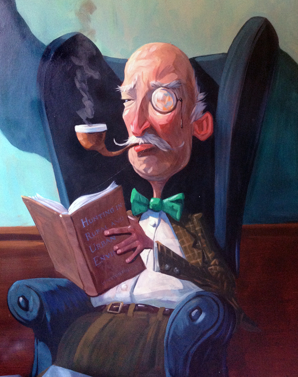 "The Colonel  28"" wide. Oil on wood, 2013. $200. Buy this painting."