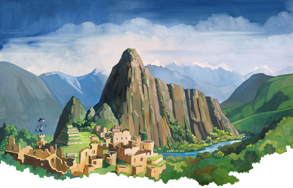 "Machu Picchu  19"" wide. Oil on illustration board, 2013. $300. Buy this painting."