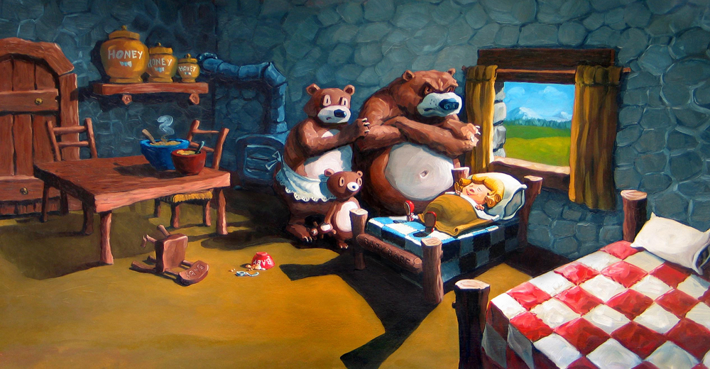 "Goldilocks  Illustration for a Verizon outdoor board. 27"" wide. Oil on illustration board, 2000. $200. Buy this painting."