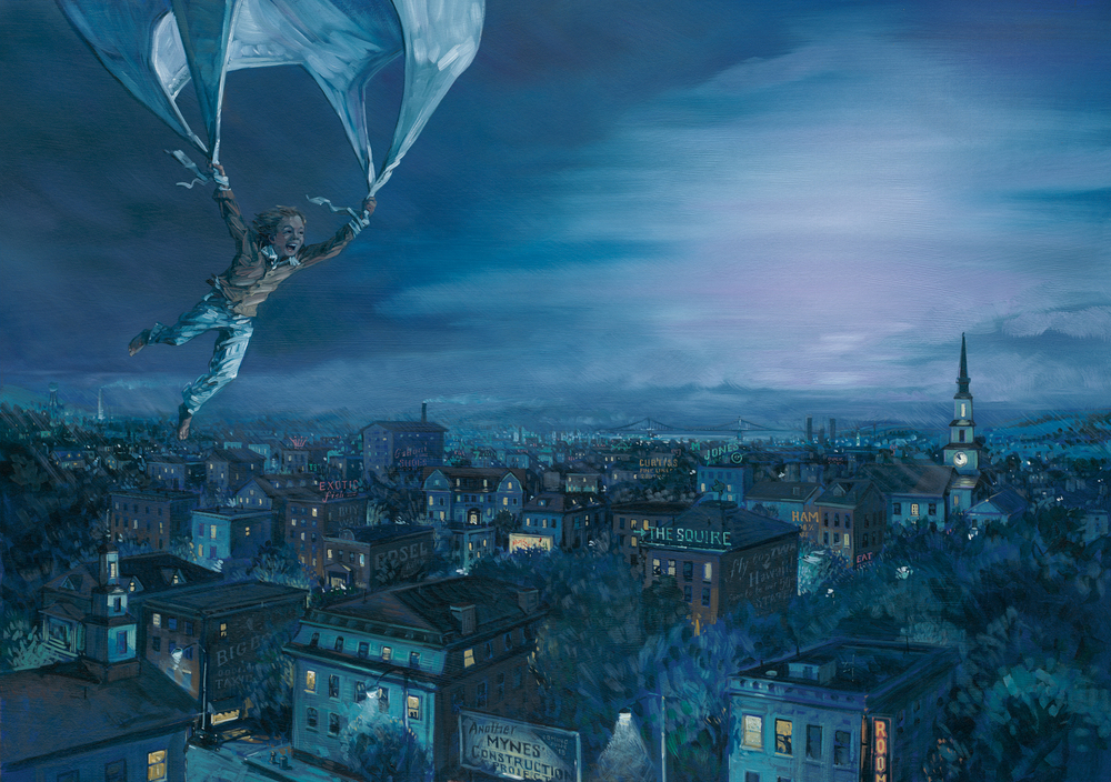 "Flying at Night   24"" wide. Oil on illustration board, 2011.   $800  .   Buy this painting."