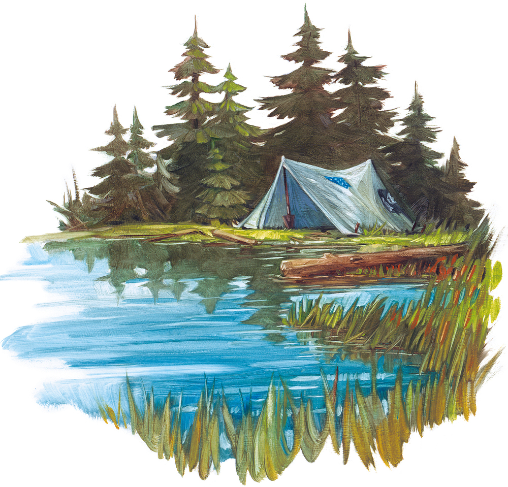 "Camp    10"" wide. Oil on illustration board, 2011.   $100  .   Buy this painting."