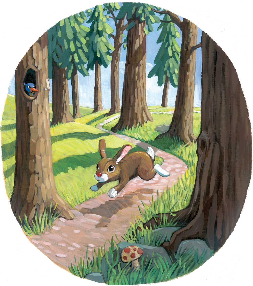 "Scampering Through the Woods   11"" wide. Oil on illustration board, 2012.   $100.   Buy this painting."