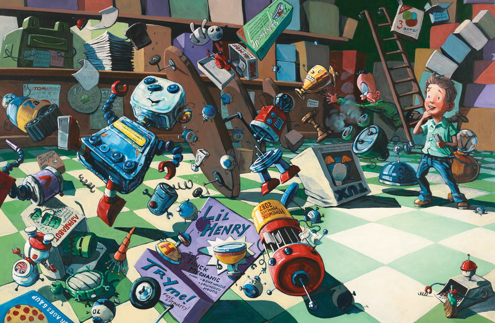 "Chaos in the Robot Shop 32"" wide. Oil on illustration board, 2010. $800. Buy this painting."
