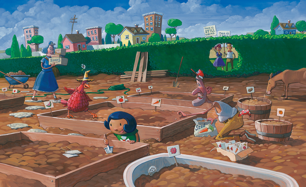 "Planting  26"" wide. Acrylic and Oil on illustration board, 2013. $500. Buy this painting."