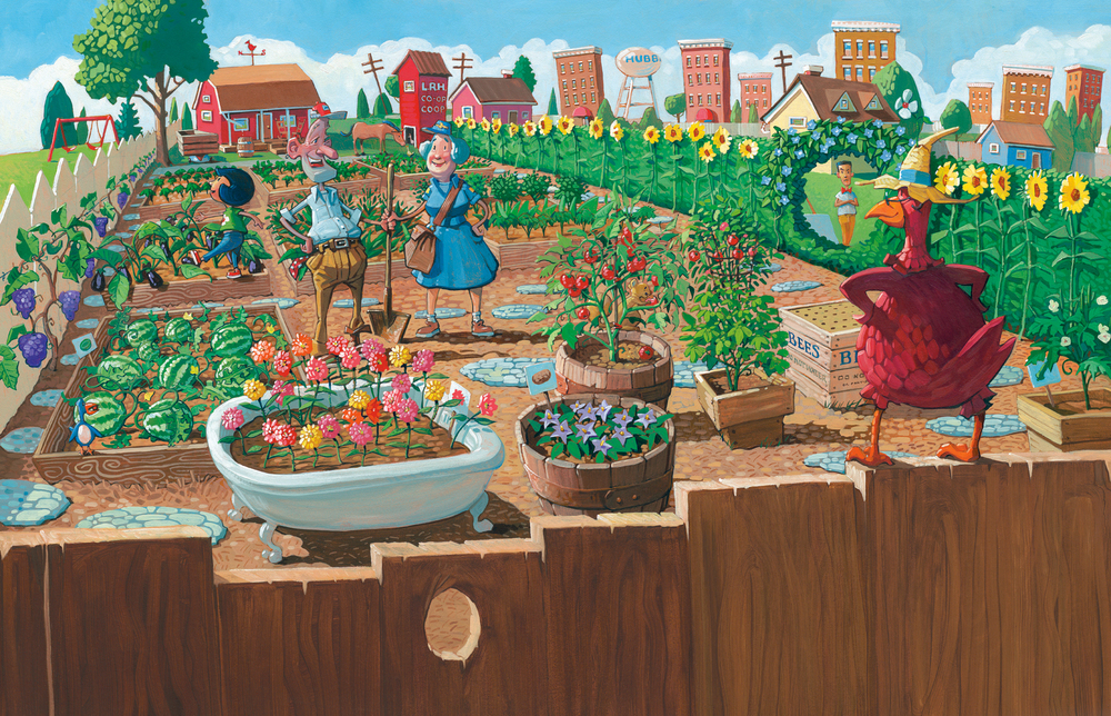 "The Garden  26"" wide. Acrylic and Oil on illustration board, 2013. $500. Buy this painting."