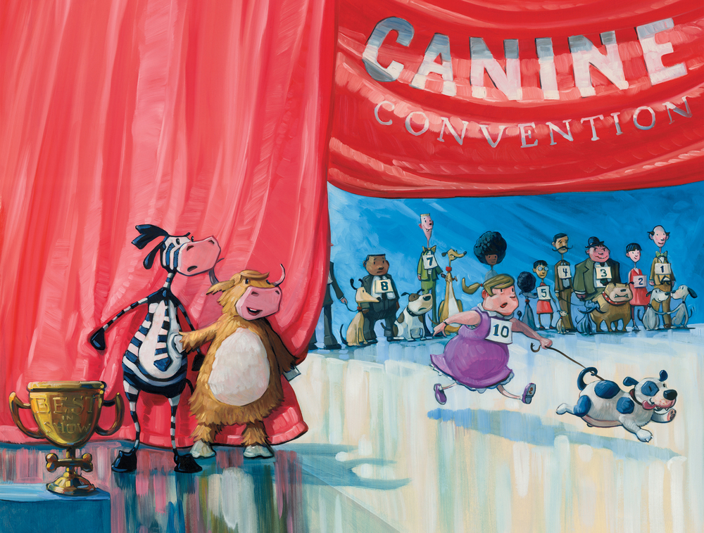 "10 Dogs 22"" wide. Oil on illustration board, 2012. $400. Buy this painting."