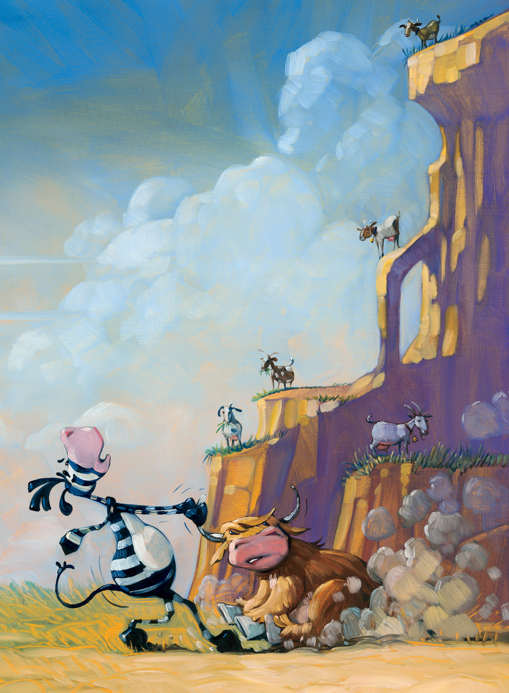 "5 Goats     11"" wide. Oil on illustration board, 2012.   $300  .   Buy this painting."
