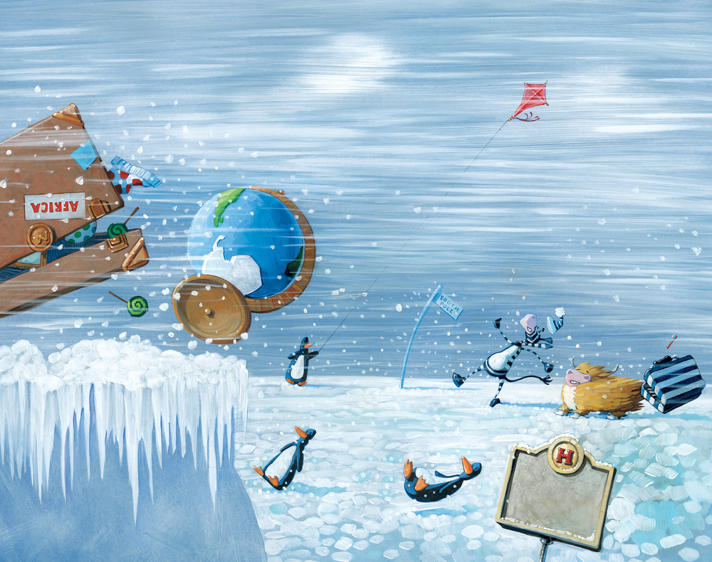"Antarctica  22"" wide. Acrylic and oil on illustration board, 2013. $300. Buy this painting."