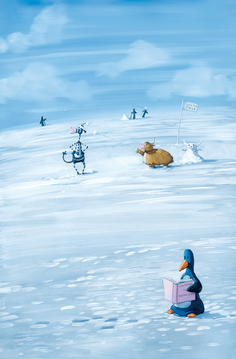 "Snowball Fight 11"" wide. Acrylic and oil on illustration board, 2013. $300. Buy this painting."
