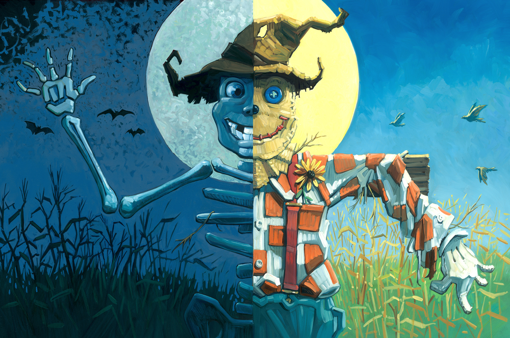 Cover Art • Oil on illustration board. The front and back cover show both sides of the scarecrow's character.
