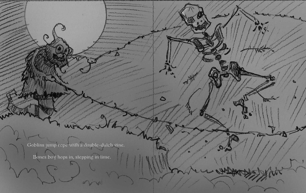 Another sketch from the book, very similar to the final art, except that the skeleton became less realistic in the final art.