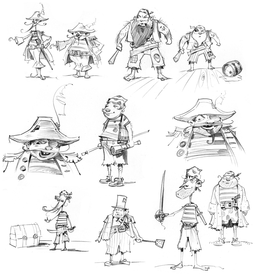 Character sketches of the captain and his crew.