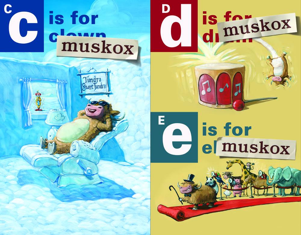 A two-page spread from A is for Musk Ox, showing how the alphabet book has been overrun by the musk ox.