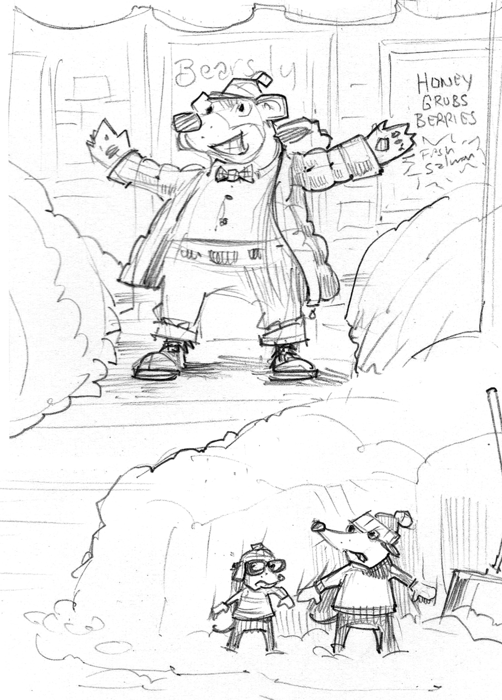 Sketch for   The Wrong Walkway  . In the final art the bear became a rabbit.