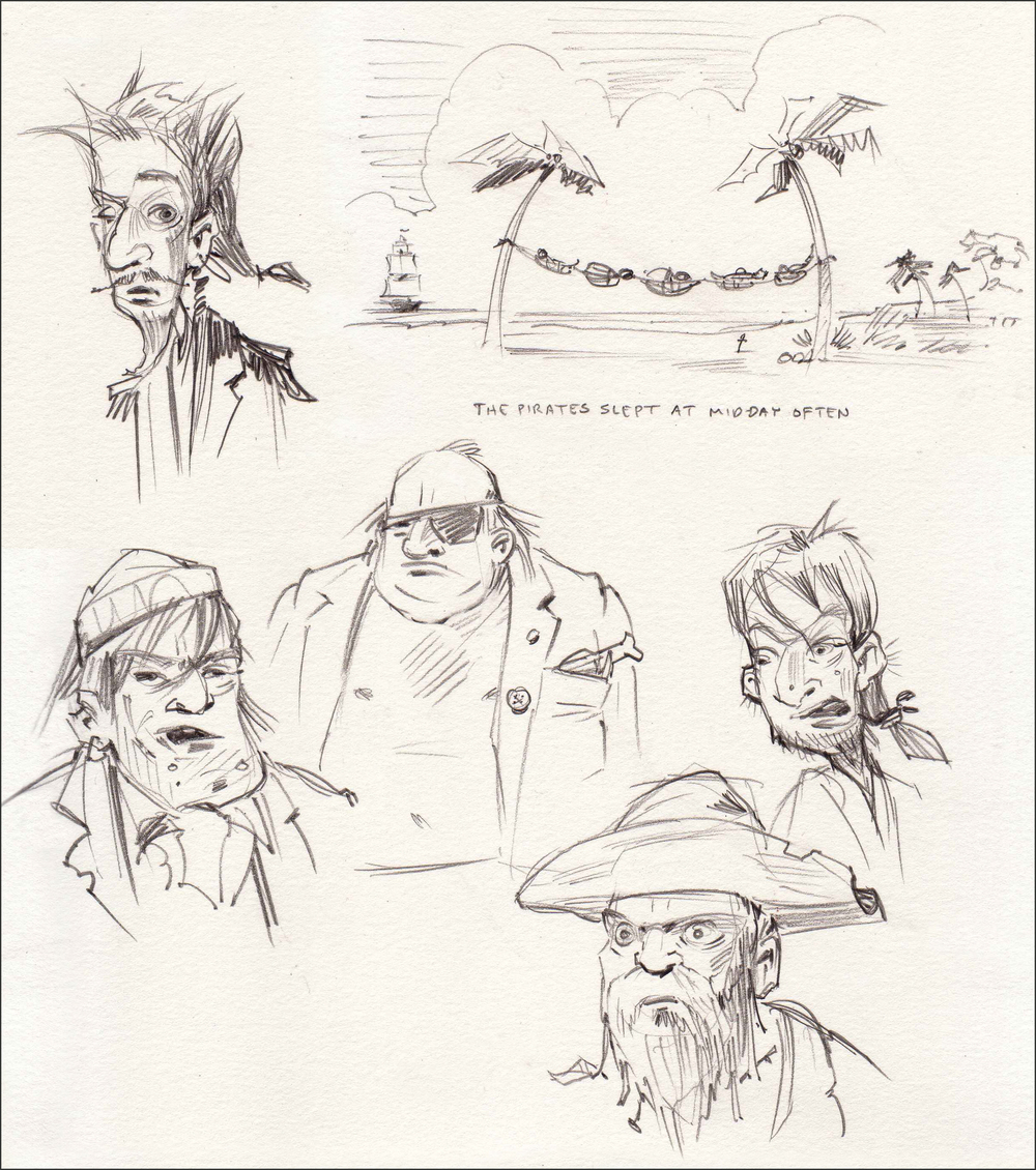 Character studies for pirates.