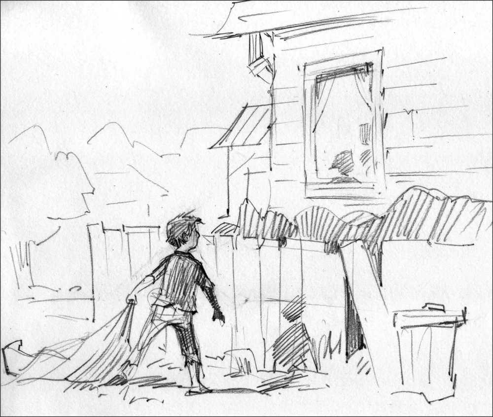 Sketch for   Home Again  . Rather than have the boy return to his home via the front door, I put him in the backyard, behind a fence, to illustrate the distance his adventure/growth has put between himself and the boy he was.