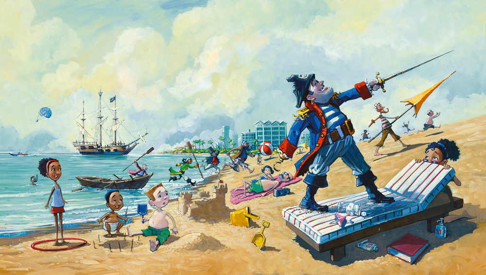Storming the Beach   • Oil on illustration board. Up to this point in the book, we assume these Pirates live in the age of sailing ships.