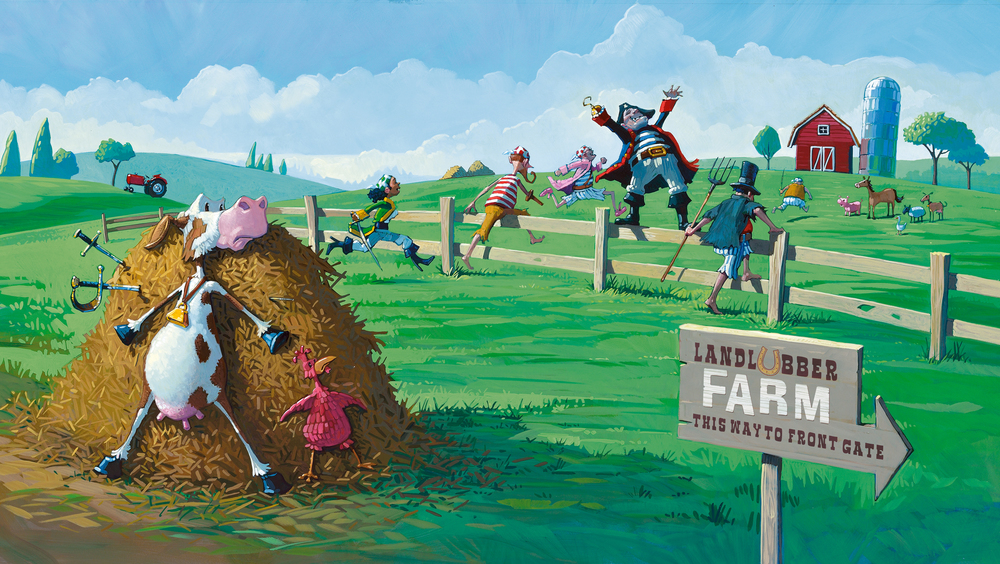 Storming the Farm • Oil on illustration board. I had just finished illustrating Cock-A-Doodle-Doo-Bop!, so the cow and chicken were kind enough to show up here as extras.