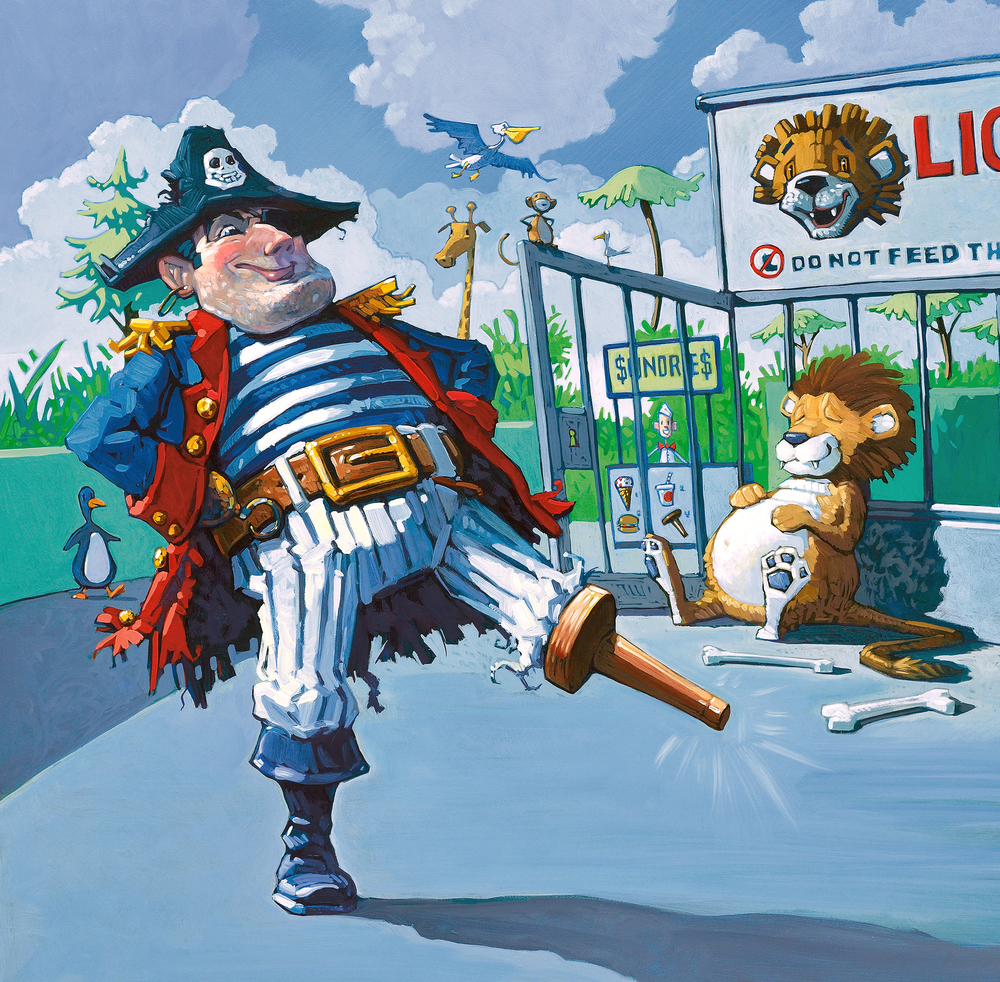 I Got Me Wooden Leg! • Oil on illustration board. This was on the checklist of things every pirate needs. Can you see where he got his peg? Trivia: The skull on the captain's hat always reflects his mood.