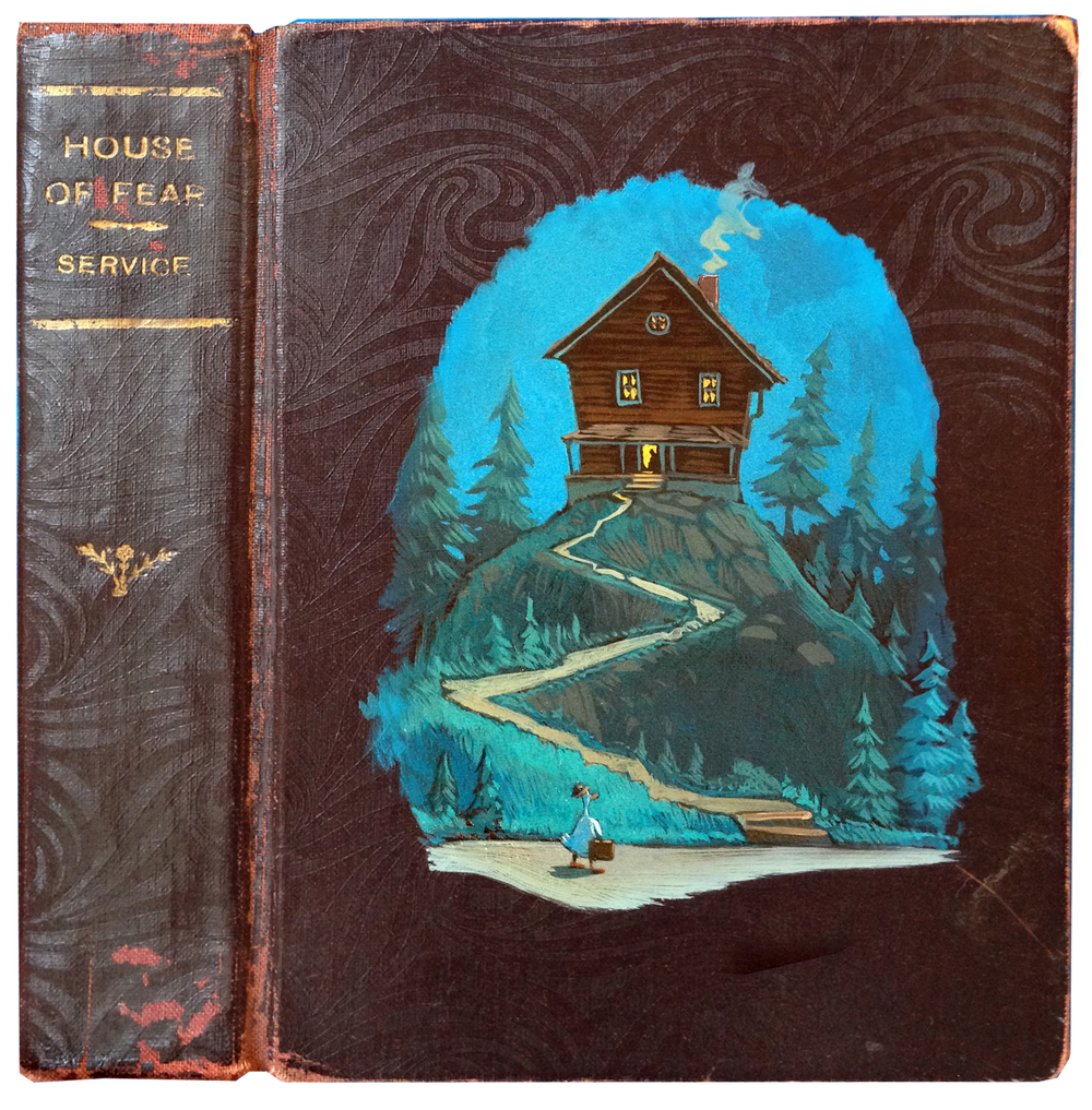 One of my favorite ways to alter existing objects is to paint on old book covers. Of course my illustration will have very little to do with what the author intended.   House of Fear   • Oil on book cover.