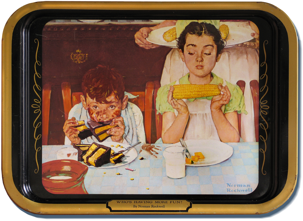 Been hankering for an altered TV tray? No problem. Just keep in mind I need to paint on flat, smooth surfaces. The Cake Glutton • Oil on metal tray. BTW, the boy also used to be eating corn.