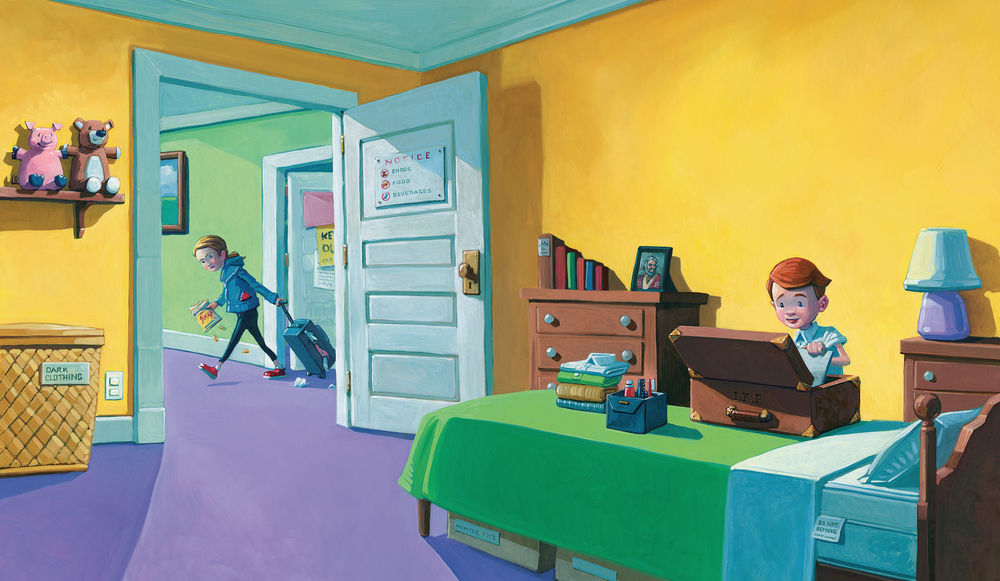 "Ian's Room • 25"" wide. Oil on illustration board, 2014. $700. Buy this painting."