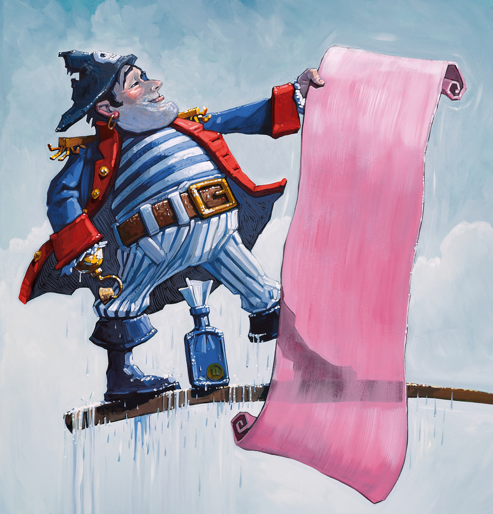 "The Pink Scroll • 14"" wide. Oil on illustration board, 2015. $500. Buy this painting."