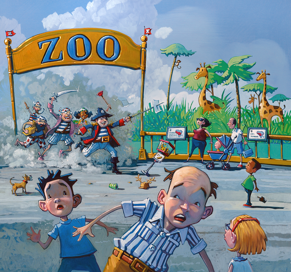 "Storming the Zoo • 25"" wide. Oil on illustration board, 2015. $600. Buy this painting."