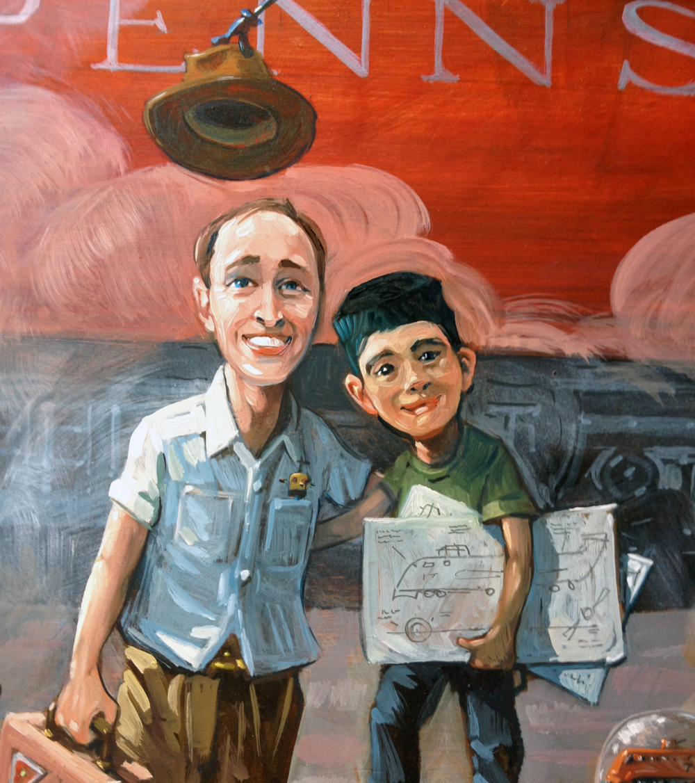 A detail from Robot Train. Father and Son.