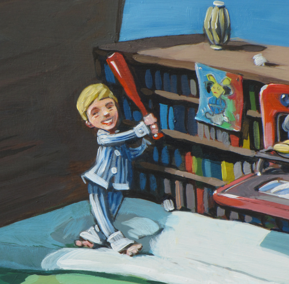 Another detail from Brownstone Bed. The boy loved baseball.