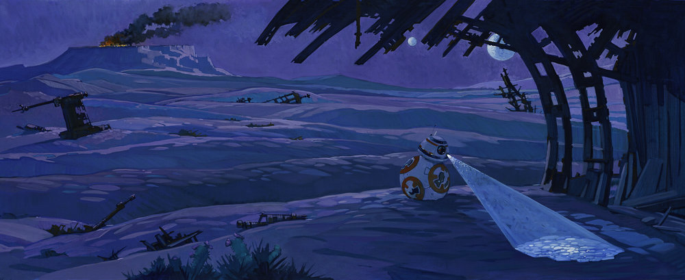 Night on Jakku   • Acrylic and Oil on illustration board