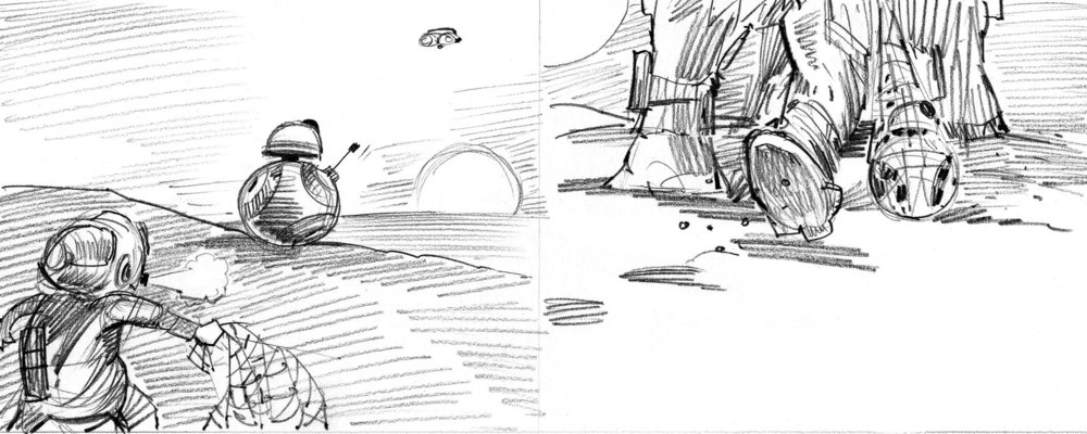 Sketch for a spread showing BB-8 about to be captured by Teedo (left) and then being dragged along in the net. Very little changed from this first drawing to final art.