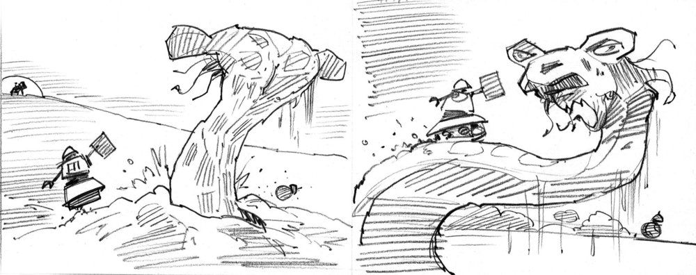 An early sketch showing BB-8 and Fez running into a massive sand worm. The metal-eating birds (shown in  Attacked , above) seemed much more chaotic, so we went with them. Note the early version of Fez, too.