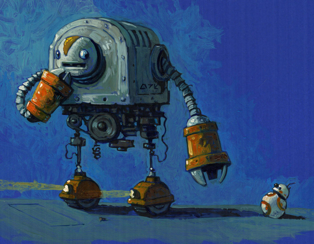 Color study for the huge loading droid Fez. Note the different head.