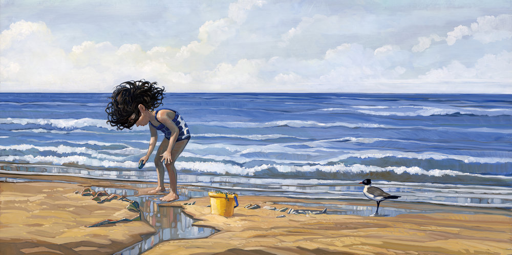 Looking for shells   • Oil on illustration board